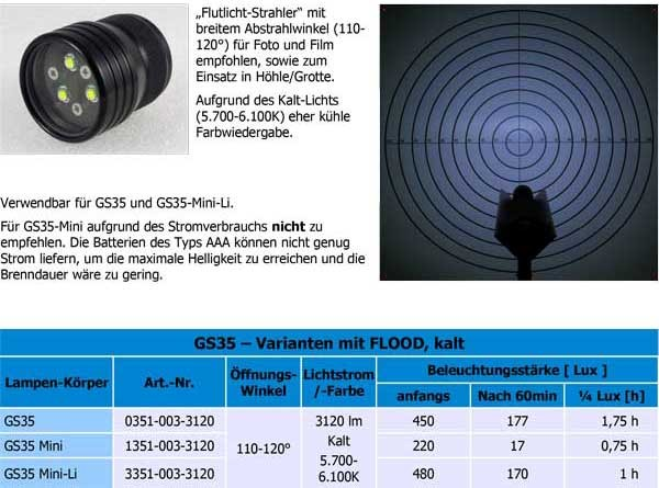 GS35 FLOOD Kaltton 120° 3000 Lumen Lampenkopf